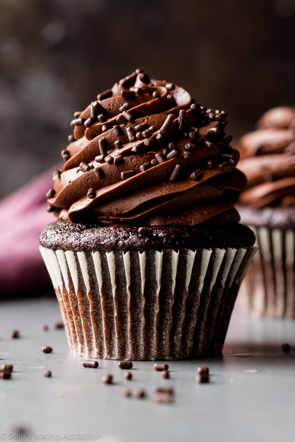 Dark Chocolate Cream Filled Cupcakes