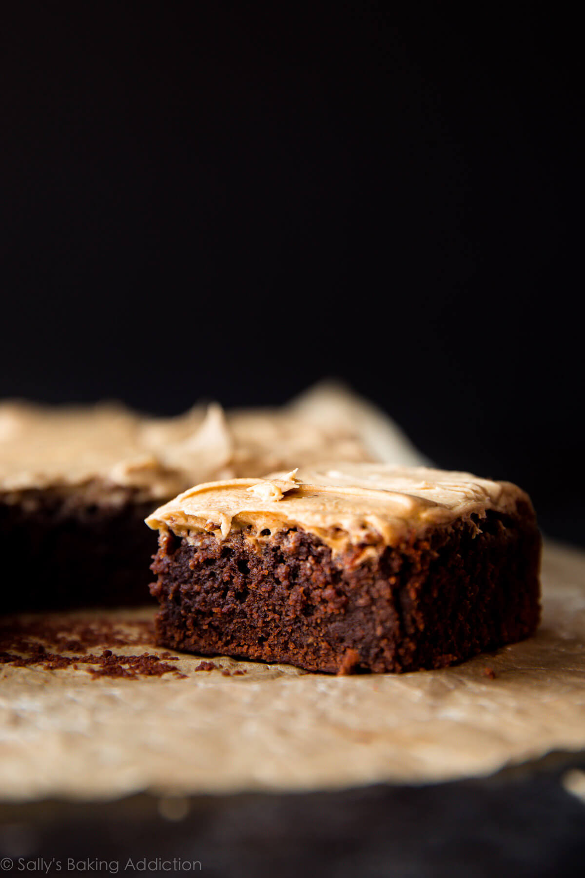 These Guinness Brownies are made from reduced Guinness Stout. They're fudgy, rich, and topped with espresso powder and Guinness infused frosting! Recipe on sallysbakingaddiction.com