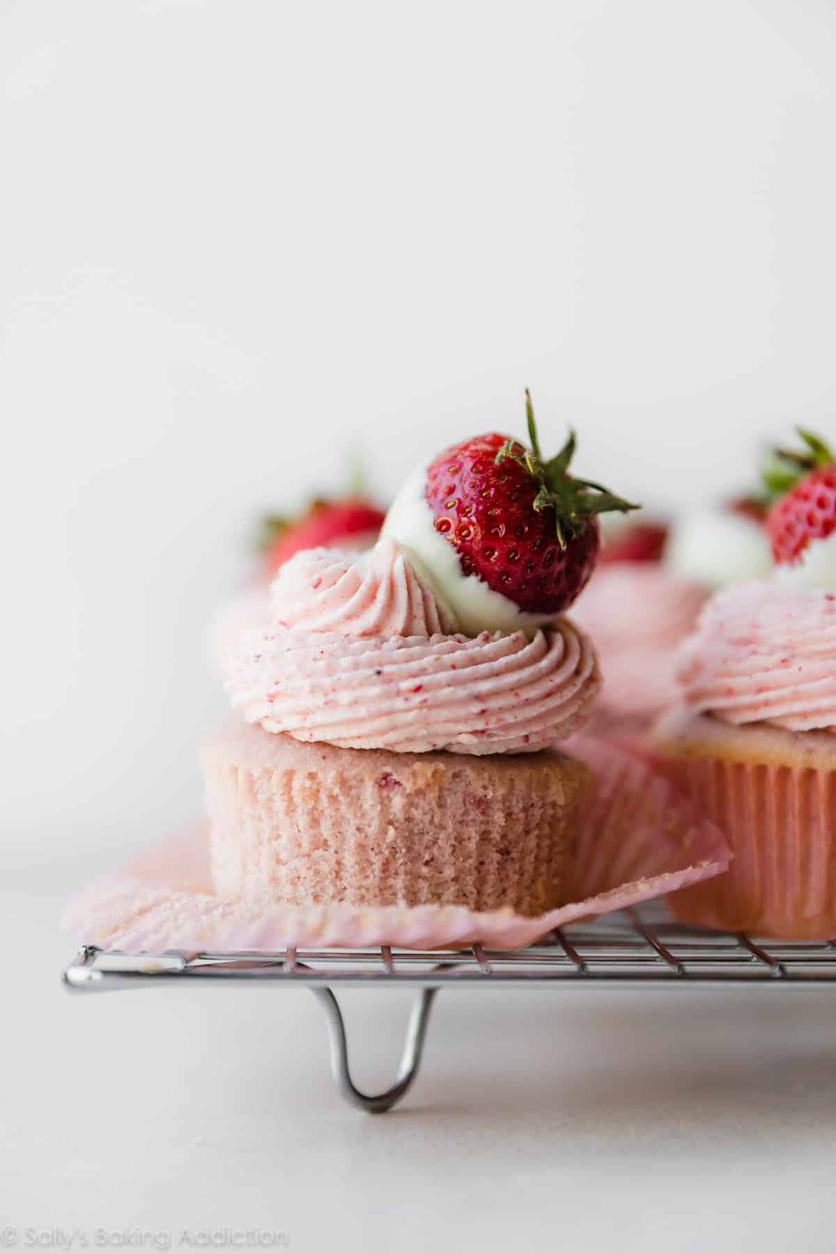 White Chocolate Strawberry Cupcakes | Sally's Baking Addiction